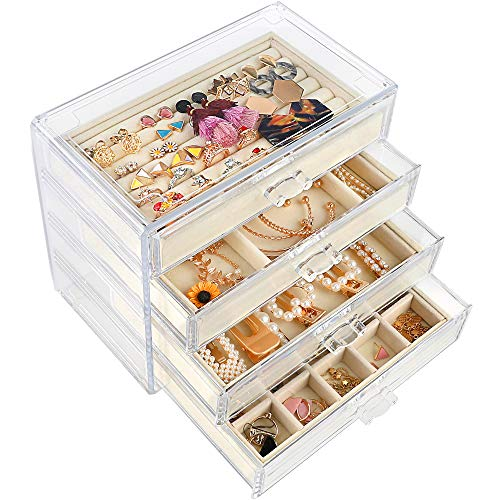 Mebbay Acrylic Jewelry Box with 4 Drawers, Velvet Jewelry Organizer for Earring Necklace Ring & Bracelet, Clear Jewelry Display Storage Case for Woman, Beige