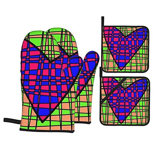 Ovenmitts And Potholders,Corazón Abstracto Azulejos Coloridos Guantes Para Horno Y Porta Ollas, Juegos De Manoplas De Cocina Duraderas Para Navidad Halloween,Set of 4
