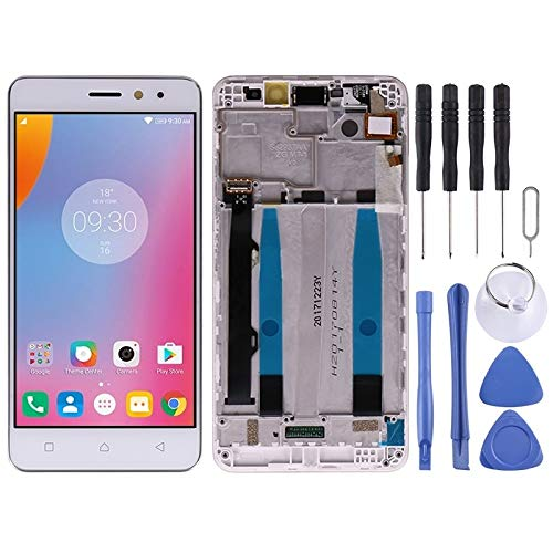 YUNSHUIVICC LCD Screen and Digitizer Full Assembly with Frame for Lenovo K6 Power(White) (Color : White)