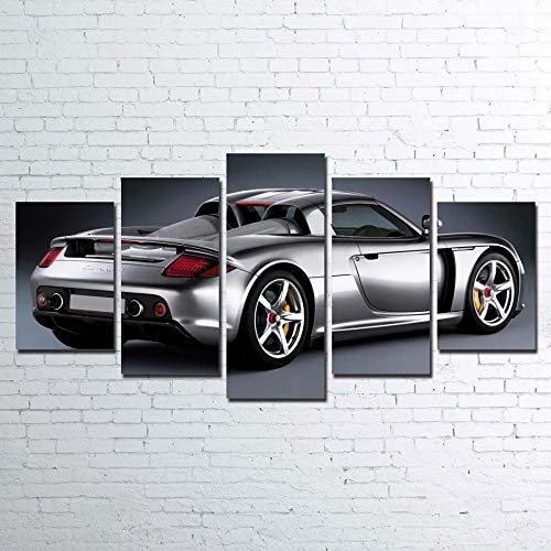 GSDFSD 5 Canvas Wall Art Framed Print On Canvas Silver Porsch Carrera GT Sports car 5 Panel Canvas Wall Art For Living Room Bedroom Gift - 150 * 80Cm