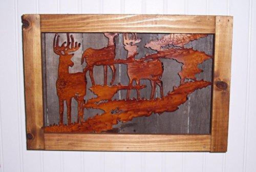 Rustic Deer Scene Wall Shadow Box