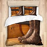TARTINY Música Country Americana con Guitarra y Zapatos de Vaquero en Madera,Juego de Funda de Edredón,Juego de Ropa de Cama con Funda nórdica de Microfibra y 2 Funda de Almohada - 220 x 240 cm