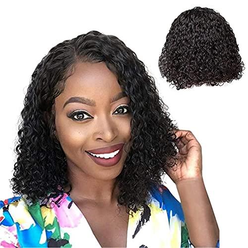 Peluca de pelo humano sin pegamento para mujeres negras Remy brasileño onda profunda Cabello humano rizado ninguno Encaje frente Pelucas marrón YQLWX (Color: Negro)
