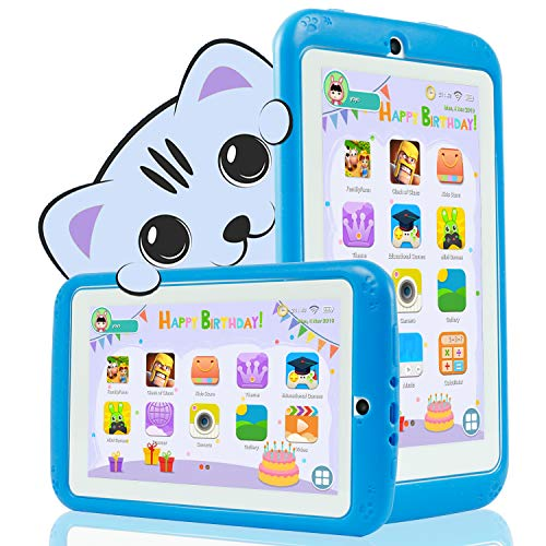 YESTEL Tablet para Niños 7 Pulgadas Android 8.1 Tableta Infantil y Quad Core 2GB RAM y 32GB ROM de WiFi y Bluetooth IPS HD 1024 * 600 Dual Camera Entertainment Education-Azul