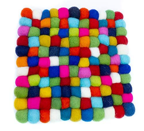 feelz Untersetzer Filzkugel quadratisch bunt 100% Wolle Handarbeit (15x15cm)