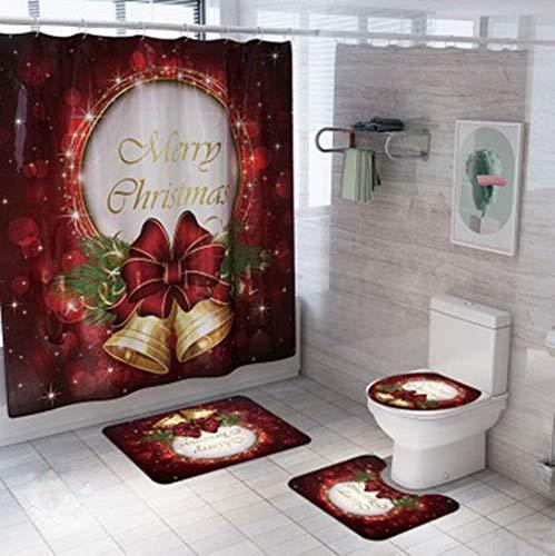 Christmas Bathroom Decor Toilet Seat Cover Set Christmas Santa Claus Xmas Home Decorations Shower Curtain/Bath Mat Non-Slip Rugs (C Style, 4 Pcs)