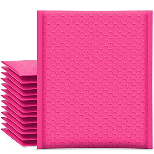 UCGOU Bubble Mailers 8.5x12 Inch Hot Pink 25 Pack Poly Padded Envelopes #2 Medium Mailing Opaque Packaging Postal Self Seal Waterproof Boutique Shipping Bags for Clothes Makeup Supplies