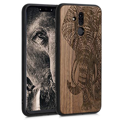 kwmobile Funda Compatible con Huawei Mate 20 Lite - Funda de Madera de Nogal Elefante Tallado marrón Oscuro