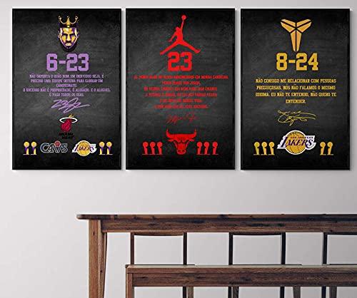 Quadro Decorativo As Lendas - Lebron James - Kobe Bryant - Jordan