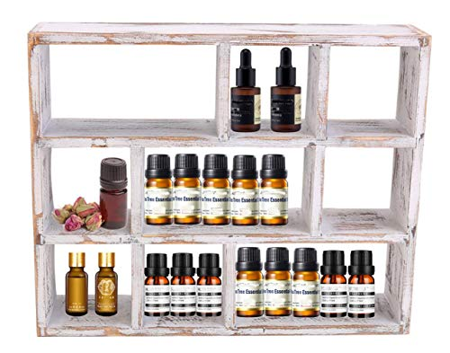 iClosam Square Floating Shelf, 15-Inch 9-Compartment Wood Wall Mounted & Freestanding Shelf Display Stand for Crystal, Essential Oil Hanging Storage Shelf Wall Home Decor