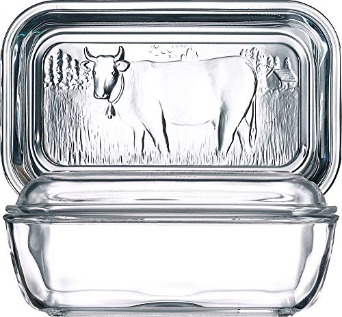 Arc International Luminarc Cow Butter Dish, 6-1/2-Inch by 2-3/4-Inch