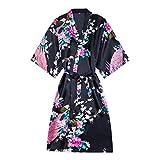 LYH Kimono Yukata Style Japonais Robe CourteFemme Sommeil Vêtements De Nuit Robe De Bain Pyjama En Soie Chinoise Orientale, Noir, S