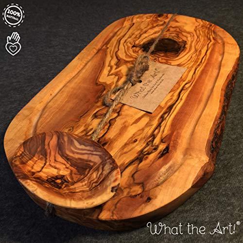 What the Art!® Olive Wood «Rustic» Gr. XL | Olivenholz Schneidebrett inkl. Dip-Schälchen + Geschenk | ca. 40-42 x 18-24 x 2 cm | Käsebrett - Hackbrett - Tranchierbrett - Servierbrett