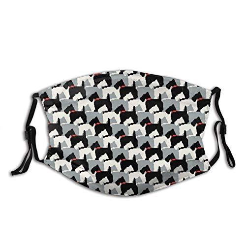 Black Scottie Dogs - Máscara facial unisex con bucles ajustables para los oídos, reutilizable, lavable, transpirable, protección contra el polvo, para deportes al aire libre