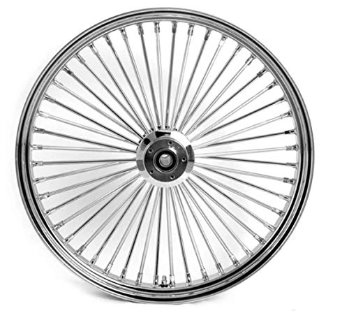 Demon's Cycle 26' x 3.5' Chrome 48 Fat Spoke Front Wheel, Compatible with Harley-Davidson Single Disc