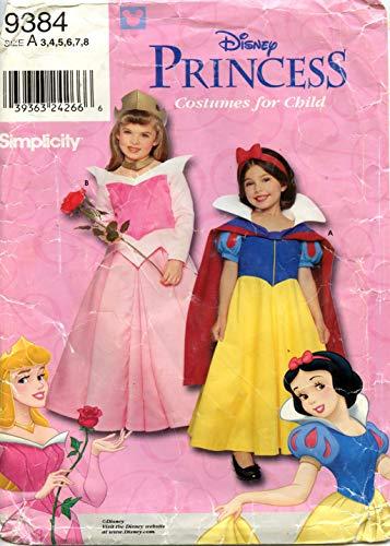 Simplicity - Disfraz de princesa de Walt Disney para nios (color blanco como la nieve y la belleza durmiente, nmero de patrn 9384, talla 3, 4, 5, 6, 7, 8)