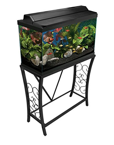 Aquatic Fundamentals 102291, 29 Gallon Metal Aquarium Stand, Classic Scroll Design-Black