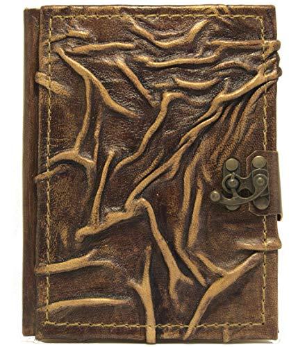 Cuaderno de piel 'natural', diario, páginas en blanco, libro de visitas, medieval, álbum de poesía, 18,5 x 14,5 x 2,0 cm, color marrón, 2ª