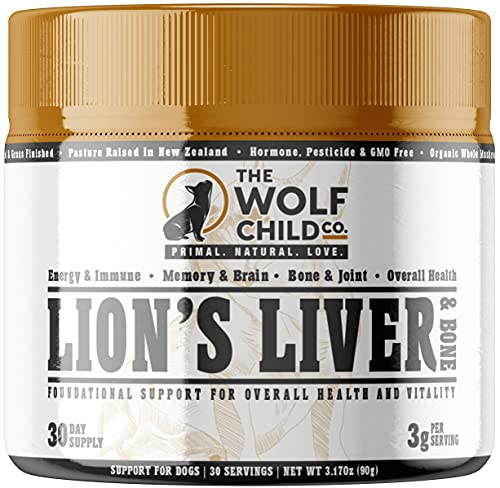 The Wolf Child Co. Lion's Liver and Bone - Multivitamin Supplement for Dogs - Organic Lion's Mane Mushroom  Grass-fed Beef Liver & Bone Extract | Energy  Immune  Brain  Bone & Joint | 30 Day Supply