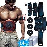 EMS Bauchmuskeltrainer USB Wiederaufladbar EMS Trainingsgerät für Arm Bauch Beine Bizeps Trizeps Abs Elektrostimulator 6 Modi 9 Intensitäten 14 Gratis Gelpads für Muskelaufbau und...