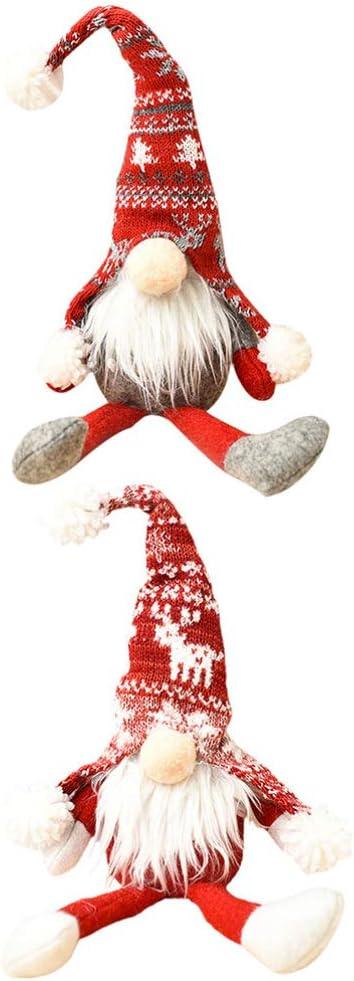 EXCEART 2pcs Christmas Gnome Santa San Francisco Mall Choice Figurine Doll Swedish S