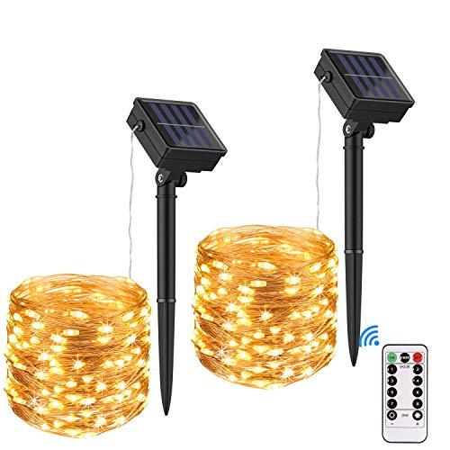 LED Solar Lichterkette Aussen, Elekin 2x12M 100 LED Lichterketten IP65 Wasserdicht 8 Modus Solarlichterkette Außenlichterkette Deko für Garten, Bäume, Weihnachten, Hochzeit, Party usw