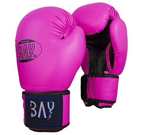 "BAY® ""Future"" Boxhandschuhe Box-Handschuhe, rosa pink schwarz, Leder-PU, 8 Unzen UZ OZ, small Hand"