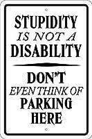 愚かさはない駐車場金属記号、男の洞窟、楽しい、皮肉インチ