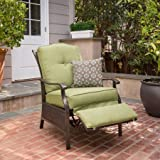 Better Homes & Gardens Recliner Outdoor Powder Coated Steel Frame in Color Green with 1 Decorative Pillow