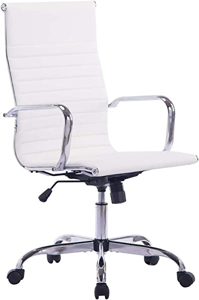Sidanli Modern Desk Chair High Back Executive Office Chair White Pu Leather