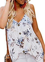 This Cute Tank Tops is Lightweight, Relaxed and Comfortable to Wear Sexy v neckline,sleeveless with adjustable spaghetti straps camisole Tank top with button closure front is very popular as like the shirt Perfect wear with variety of jeans, skirts, ...