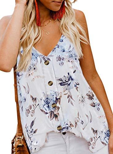 BLENCOT Women Cute Floral Sleeveless Shirts Blouses Button Up V Neck Spaghetti Strap Fashion Cami Tank Top White 2XL
