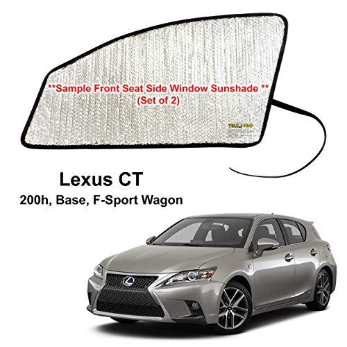 YelloPro Auto Side Window Front Seat Reflective Sunshade Custom Fit for 2011 2012 2013 2014 2015 2016 2017 Lexus CT 200h, Base, F-Sport Wagon (Set of 2)