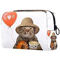 化粧ポーチトイレタリーバッグ化粧品オーガナイザードーナツ付き女性猫用ジッパーポーチ