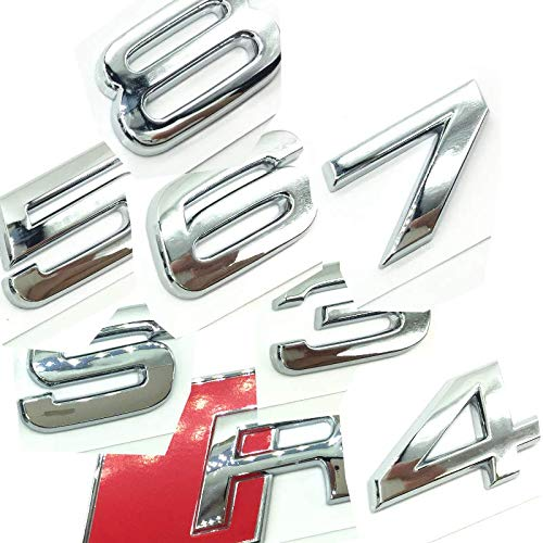 OEM ABS Nameplate compatible for Audi RS 3 4 5 6 7 8 Rs3 RS4 Rs5 Rs6 Rs7 Rs8 Chrome Silver Emblem 3D Trunk Logo Badge Compact (RS3)