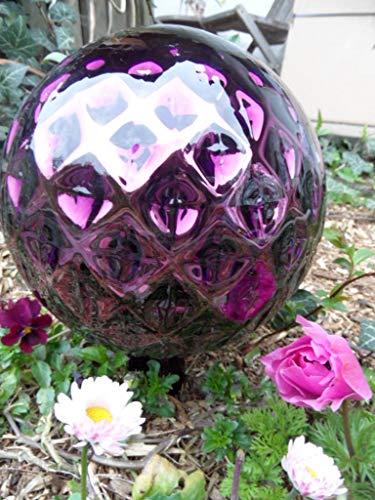 Arbrikadrex Spitzkugel FARBECHTES Glas handgefertigt Tropfenkugen Gartenkugel verspiegelt XXL Form Rosenkugel (Kugel Rautendesign, Violett)