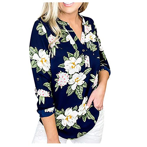 URIBAKY - Camiseta de manga larga para mujer, con cuello en V, estampado, camiseta de manga larga