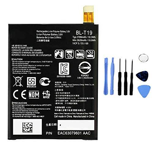 Ellenne Batería compatible con LG BL-T19 para Google Nexus 5X BLT19 Alta capacidad 2700 mAh con kit de desmontaje incluido