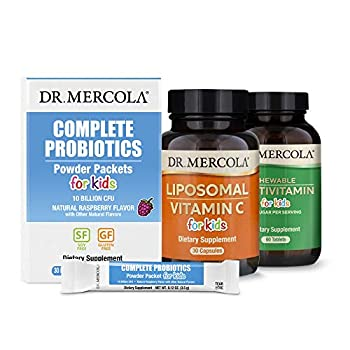 Dr Mercola Premium Kids Supplement Pack  30 Servings  Chewable Multivitamin for Kids Complete Probiotics Powder Packets for Kids Liposomal Vitamin C for Kids Non GMO Gluten Free Soy Free