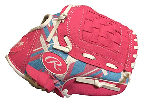 Rawlings Remix Series Youth Tball/Baseball Glove, Right Hand Throw, Pink/Blue/White, 9 Inch (Ages 3-5) (AMAREM91P-6/0)