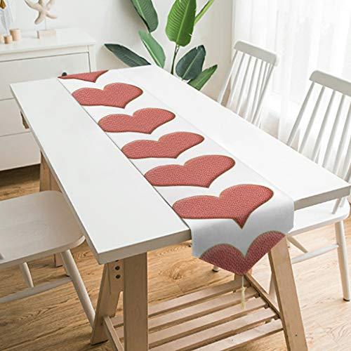 WOSITON Camino de mesa con forma de corazón hinchado, estilo nórdico, camino de mesa para tocador, 200,7 x 33 cm, el mejor regalo para el año nuevo a los amantes de color blanco 229 x 33 cm