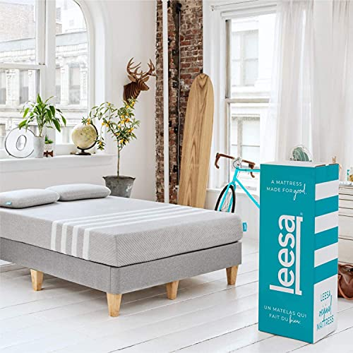 Leesa Original Bed-in-a-Box, Three Premium Foam Layers Mattress, Queen, Gray & White