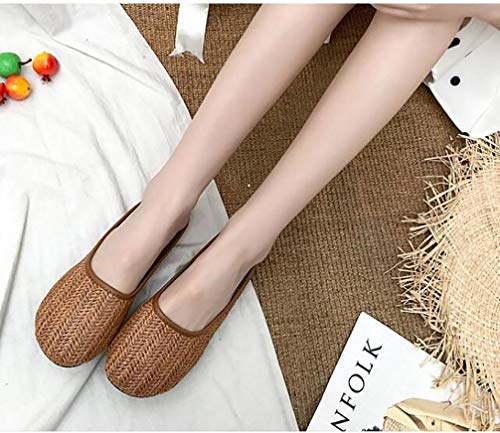 XXXZZL Sandalias de Verano Sandalia Plana de Yute Casual con Sandalia Cuerda de Cáñamo Vintage para Mujer Un Pedal Medio Arrastre Zapatos Flojos Sandalias,04,38 EU