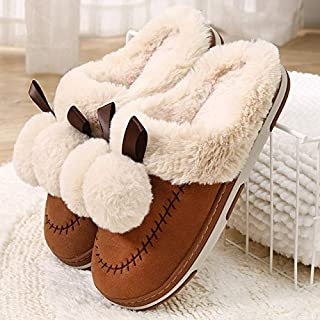 YANGLAN Women's winter cotton slippers cute plush slippers home slip-resistant shoes H 834 40 Black Household slippers (Color : E, Size : (38~39))