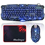 Gaming Keyboard and Mouse Combo-BlueFinger USB Wired LED Backlit Keyboard and Mouse Set with Cool Crack Pattern Adjustable Color Mouse + BlueFinger Customized Gaming Mouse Pad