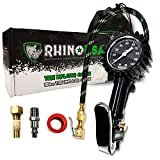 Rhino USA Tire Inflator with Pressure Gauge (0-100 PSI) - ANSI B40.1 Accurate, Large 2' Easy Read Glow Dial, Premium Braided Hose, Solid Brass Hardware, Best for Any Car, Truck, Motorcycle, RV…
