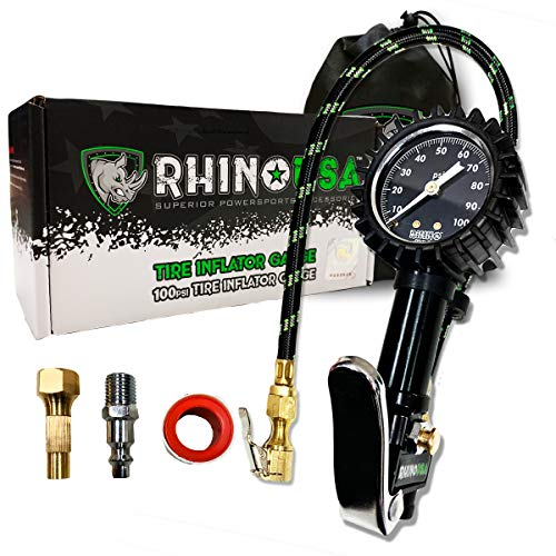 """Rhino USA Tire Inflator with Pressure Gauge (0-100 PSI) - ANSI B40.1 Accurate, Large 2"""" Easy Read Glow Dial, Premium Braided Hose, Solid Brass Hardware, Best for Any Car, Truck, Motorcycle, RV…"""
