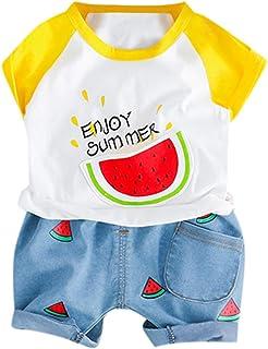 1eb0bca6e Berimaterry Ropa Bebe Recien Nacido 2019 Caricatura Camiseta Versión  Coreana Camisa Blusa y Pantalones Cortos Top