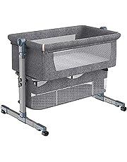 Maydolly(メイドリ)折畳可能なコンパクトのベビーベッド 携帯易い添い寝 ポータブルな簡易ベッド かや・マット・収納かご・収納袋付き 新生児0ヶ月~18ヶ月 (グレー, 揺籃タイプ)