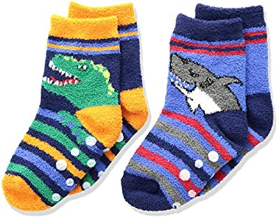 Jefferies Socks Boys' Little Dinosaur and Shark Fuzzy Non-Skid Slipper Socks 2 Pair Pack, Multi